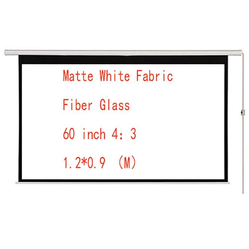 Thinyou Pantalla de proyector HD motorizada eléctrica de fibra de vidrio blanco mate de 60 pulgadas 4:3 con Control remoto para el hogar