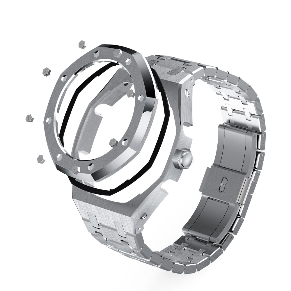 4th GA2100/2110 Generation Watchbands Octagonal Full  Metal Case Band with Crown for Jeraland Modification 316 Stainless Steel enlarge