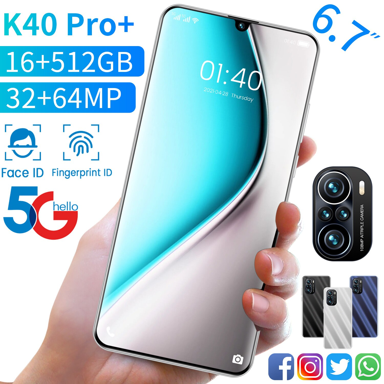 New Global Version K40 Pro+ 6.7Inch SmartPhone 6000mAh 16+512GB 32+64MP Android 11 Full Screen Face ID Dual SIM 4G 5G Cellphone