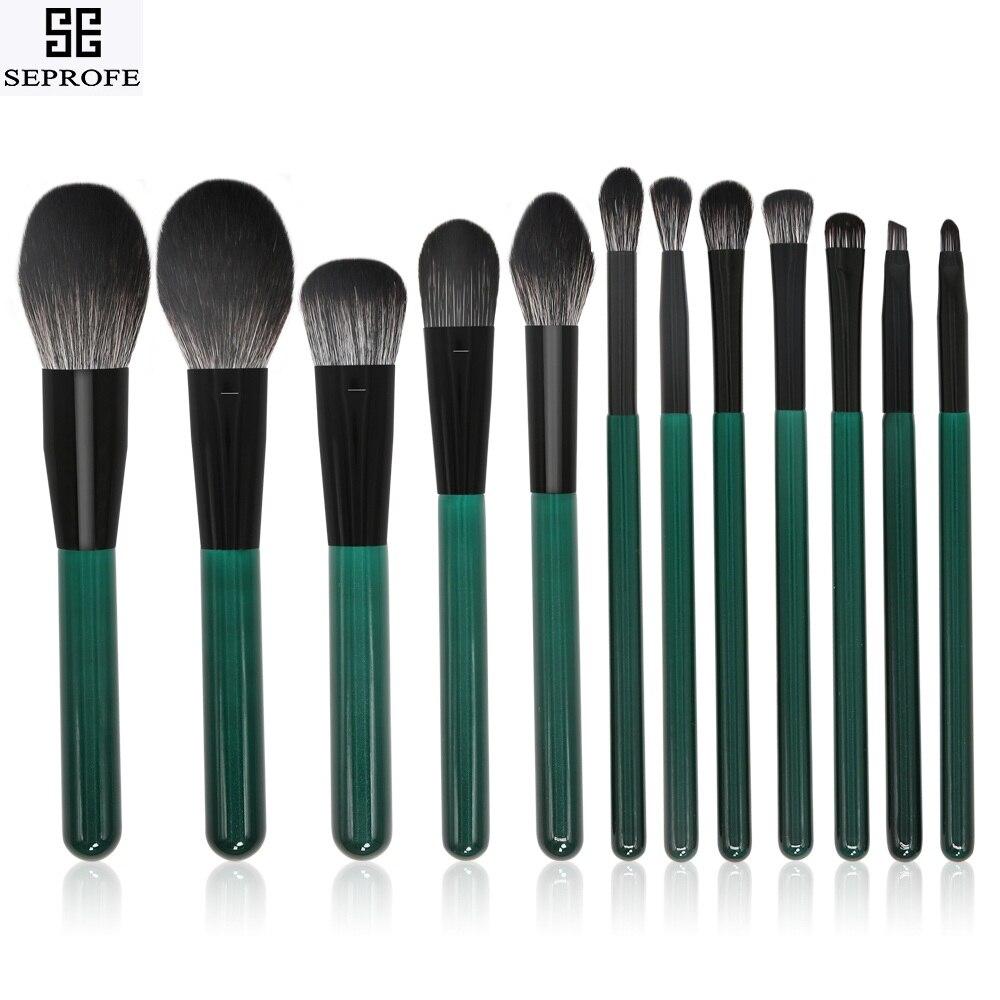 2019 nuevo 12 Uds brochas de maquillaje verdes mango de madera sombra de ojos cepillo para pestañas y cejas brocha de maquillaje de alta calidad herramientas de belleza