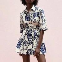 za new dress 2021 fashion retro printing slim belt women dress summer casual chic street youth women dress