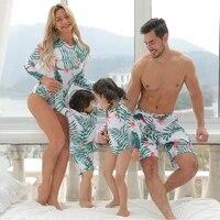 2021 new family matching swimsuit women leaf mother daughter kid boy girl long sleeve swimwear trunks bathing swim suit maillot