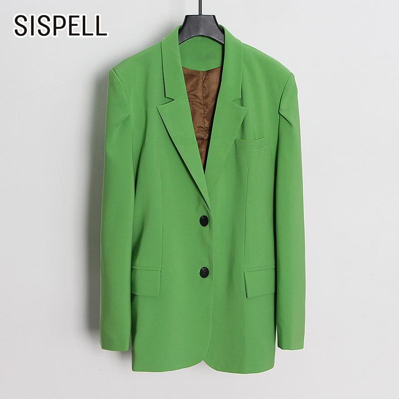 معطف نسائي كاجول فضفاض بأكمام طويلة وياقة على صدر السترة لون سادة من SISPELL موضة جديدة 2021