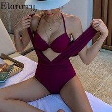 women summer push up swimwear solid sexy backless bathing suit 2020 newest Deep V swimsuit ladies vintage monokini beach wear