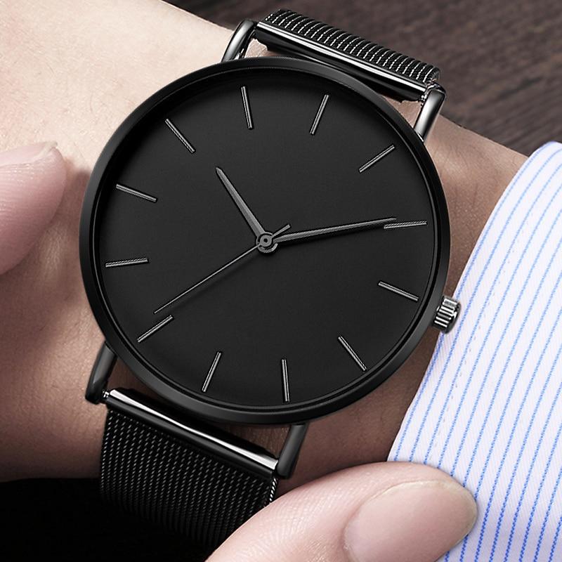AliExpress - Luxury Watch Men Mesh Ultra-thin Black Stainless Steel Bracelet Watch Men Watch Clock Reloj Hombre Relogio Masculino Men's Clock
