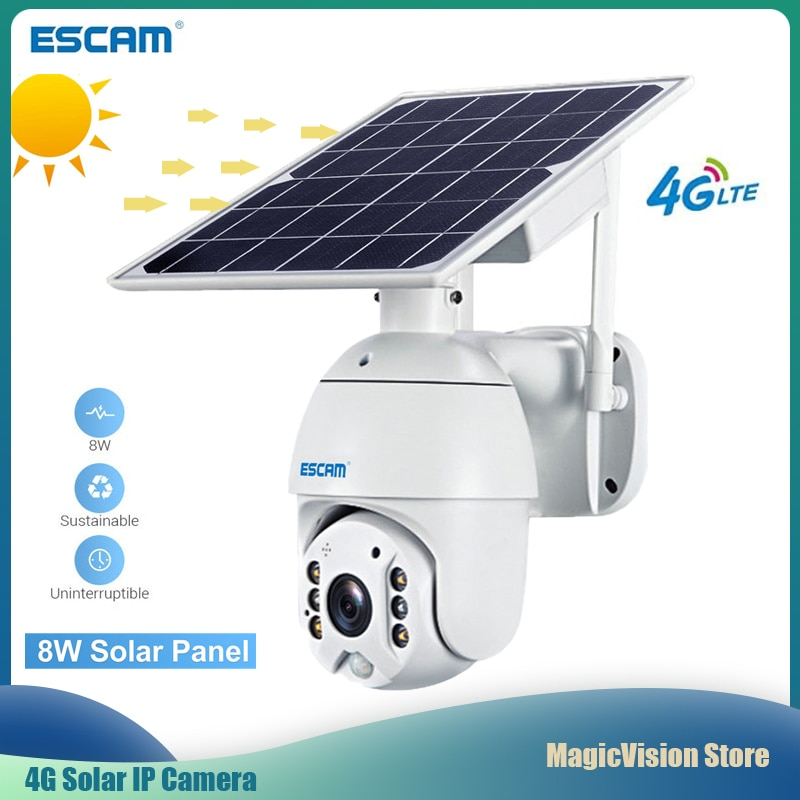ESCAM QF480 4G Macchina Fotografica 1080P Cloud Storage PTZ Batteria Solare PIR Allarme IP Camera IP66 Impermeabile A Due Vie audio