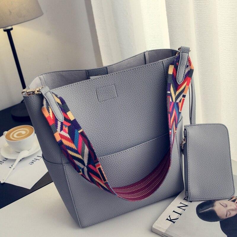 Nigedu Brand Designer Women Handbag Large Capacity Colorful Strap Shoulder Bag Pu Leather Bucket Crossbody Bags Ladies Big Totes