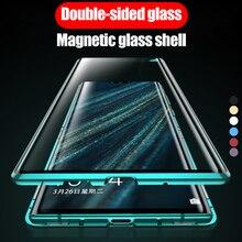 Funda de adsorción magnética, carcasa trasera de cristal de Metal para teléfono móvil Huawei P30 P40 Pro
