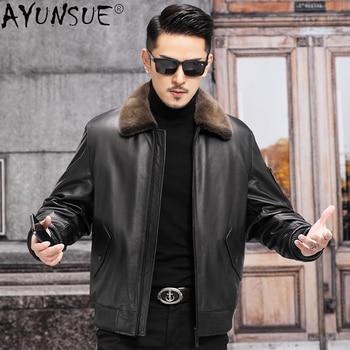 AYUNSUE Men's Coat Genuine Cowhide Leather Jacket Men Winter 2021 Real Mink Fur Collar Coat Male Casual Jaqueta Masculina Gxy757