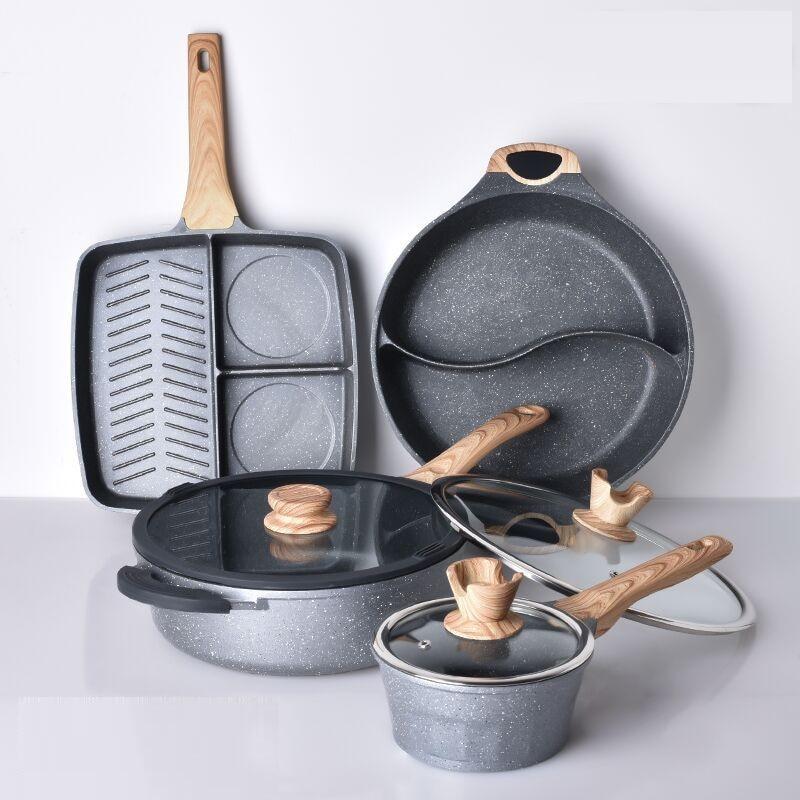 Kitchen Medicinal Stone Cooking Pots Non-stick Frying Pan Milk Pot Double-Flavor Pot Cookware Cooking Set Cooking Tool set