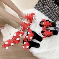 winter warm cozy plush home slippers black white crab lobster animal antiskid indoor house slippers girls ladies women shoes
