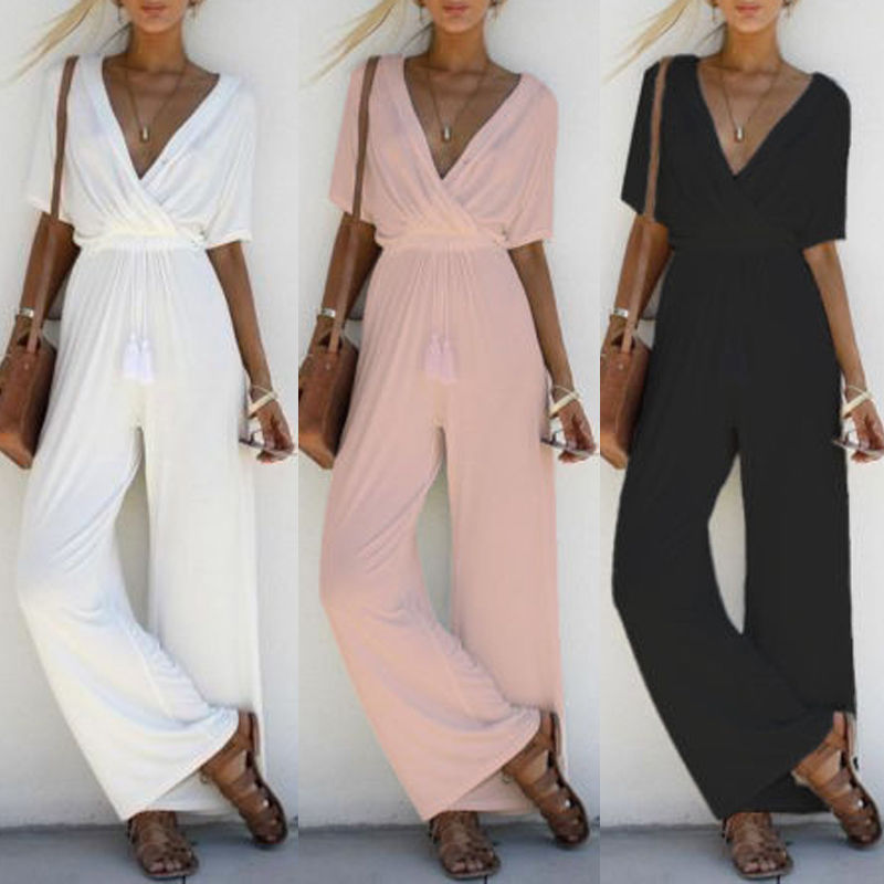 Women Jumpsuit Romper Short Sleeve V Neck Casual Playsuit Overalls Ladies Wide Leg Loose White Black Pink Playsuit Solid Jersey women sexy v neck jumpsuit casual wide leg stripe overalls off shoulder backless playsuit