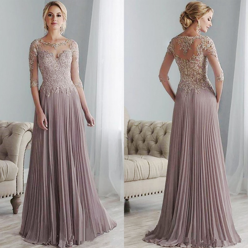 Purple Lace Mother of the Bride Dresses Plus Size Half Sleeves Groom Wedding Floor Length Pleated Ch