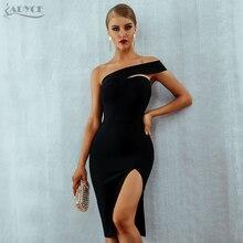 Adyce Bianco Aderente Vestito Dalla Fasciatura Delle Donne Abiti 2020 di Estate Sexy Elegante Nero Una Spalla Midi Celebrity Runway Vestiti Da Partito