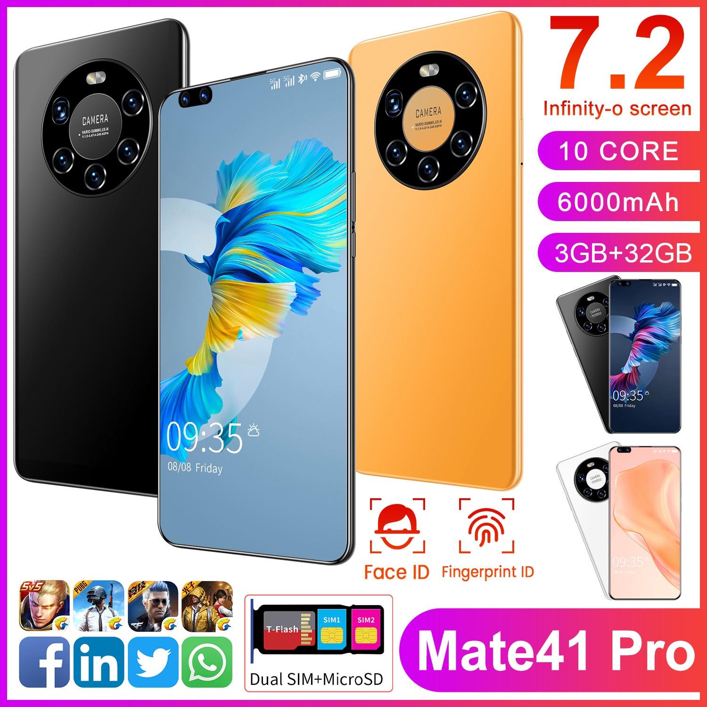 Global Version SmartPhone Mate 41 Pro Android 10.0 7.2 Inch HD Big Screen 3GB RAM 32GB ROM Dual Back Camera Mobile Phone Celular