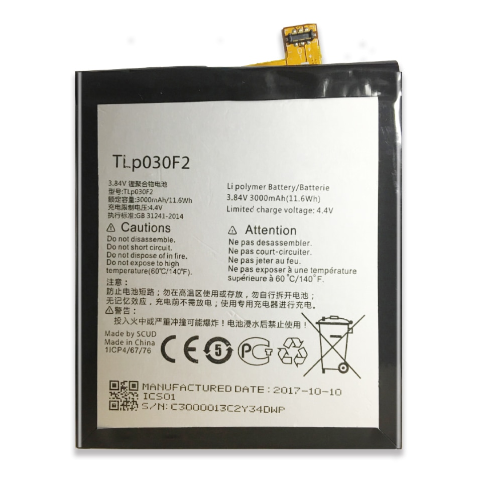 3000Mah Bateria para Alcatel One Touch Ídolo 4S TLP030F2 TLp030F1 OT-6070 OT-6070K/O/Y DTEK60 Número de Rastreamento