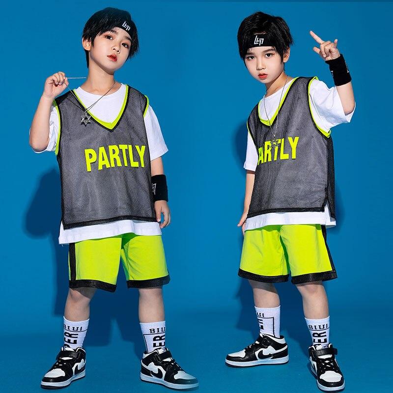 جديد أطفال كول الهيب هوب أزياء رقص الفتيات 3 قطعة بلوزة الفلورسنت الأخضر السراويل المرحلة تظهر ملابس الأولاد الجاز الرقص ارتداء XS1801