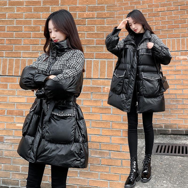 Глянцевая хлопковая одежда средней длины Женская Новинка Зима 2020 пальто в клетку в Корейском стиле