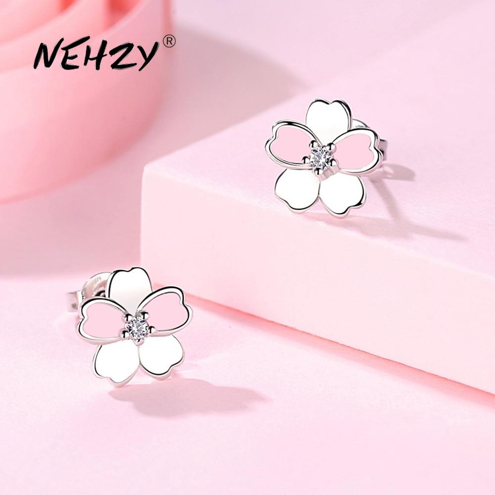 NEHZY 925 Sterling Silver Stud Earrings High Quality Woman Fashion Jewelry New Flower Zircon Crystal Hot Sale