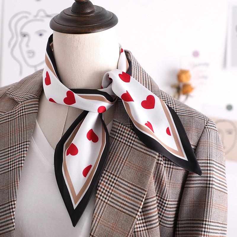 Designer  Skinny Scarf Love stripe Print Women Silk Scarf Small Handle Bag Ribbons Female Head Scarv