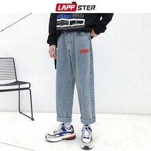 LAPPSTER Mens Korean Fashoins Harem Blue Jeans Pants 2020 Vintage Straight Pants Harajuku Jeans Baggy Belt High Quality Denim