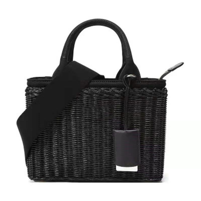 الراقية سلة مغزولة حقيبة كتف موضة المرأة القش المنسوجة سلة يد حقيبة يد خمر تنوعا الاتجاه صندوق مربع صغير