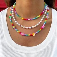 korean flower fruits rainbow soft pottery beaded necklace for women colorful string bead choker pearl necklace y2k boho jewelry
