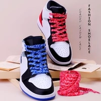 sports shoelaces cashew flower af1 canvas shoe laces black and white color ins trend personality flat lace rope wholesale