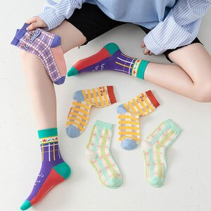 2020 New Personalized Creative Little Plaid Lady Illustration In Tube Socks 75% Cotton 4 Pairs / Pack for Women