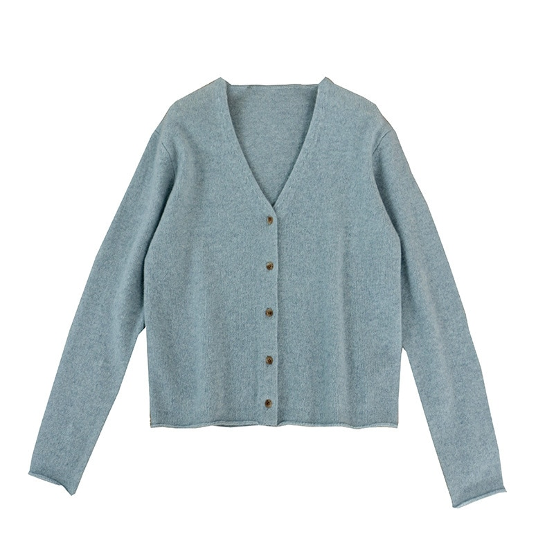 SHUCHAN 100% Wool Cardigans Women  V-Neck  Office Lady  Single Breasted  Solid  Full Sleeve Knit Sweater Autumn Winter enlarge