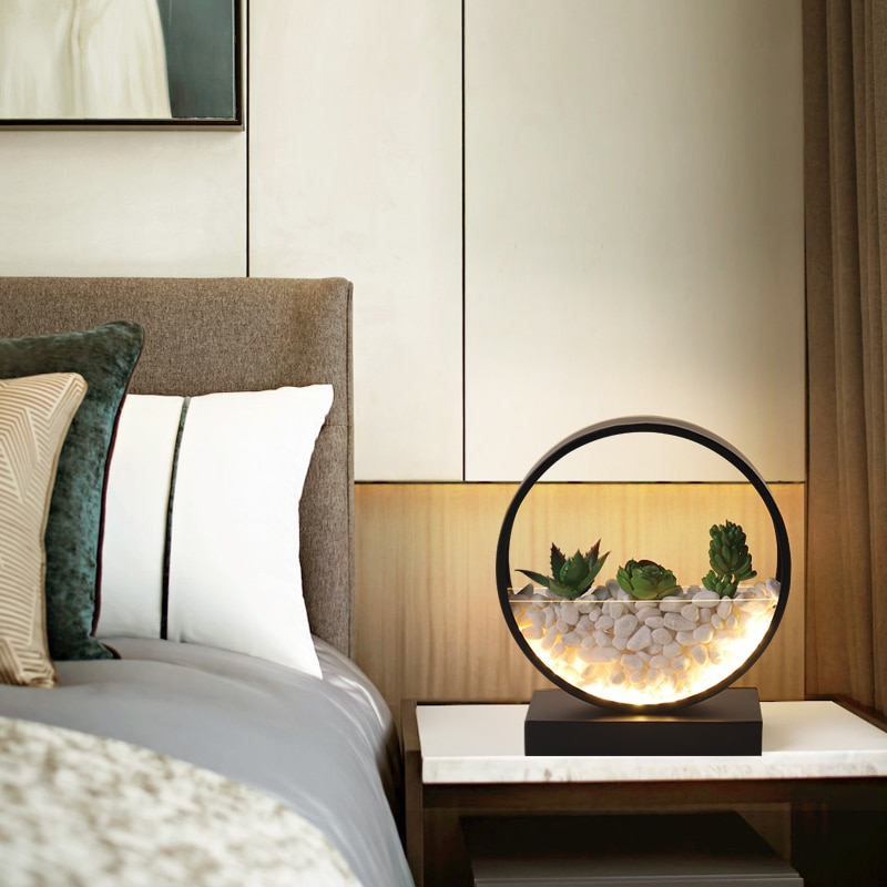 FSS Modern Minimalist Table Lamp Nordic Living room Background Wall Bedroom Bedside Succulents Pastoral Decoration Wall Lamp
