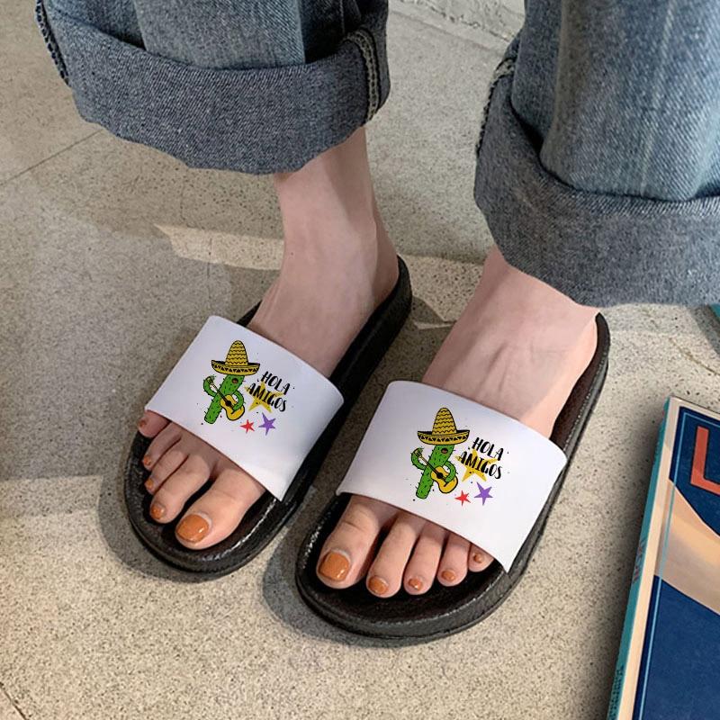summer bath slippers flip flops shoes women floor indoor home slippers flats open toe twist slides shoes pantoufle femme Summer Slippers Fun Cactus Slippers Women Slides Open Toe Home Indoor Slippers Cartoon Flip Flops Casual Shoes Girls