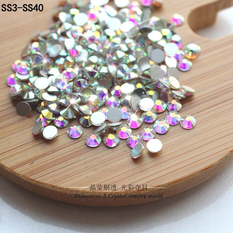 Dorisfanny блестящие стразы s Кристалл AB SS3-SS50 не горячей исправить FlatBack шитье стразами & ткань одежды Стразы нейл-арта камень