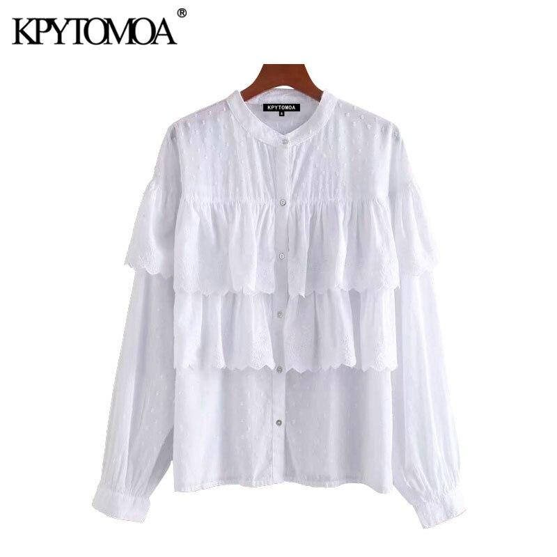 KPYTOMOA, moda 2020, Blusas bordadas con agujeros y volantes, Blusas Vintage de cuello redondo de manga larga para mujer, Blusas, Tops Chic