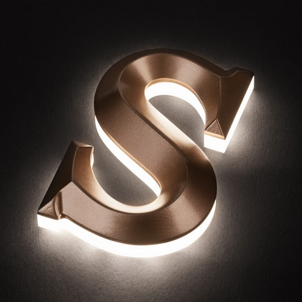 led single letter brass surface channel letter backlit wall-letters for reception cabinet brand name free customized signs