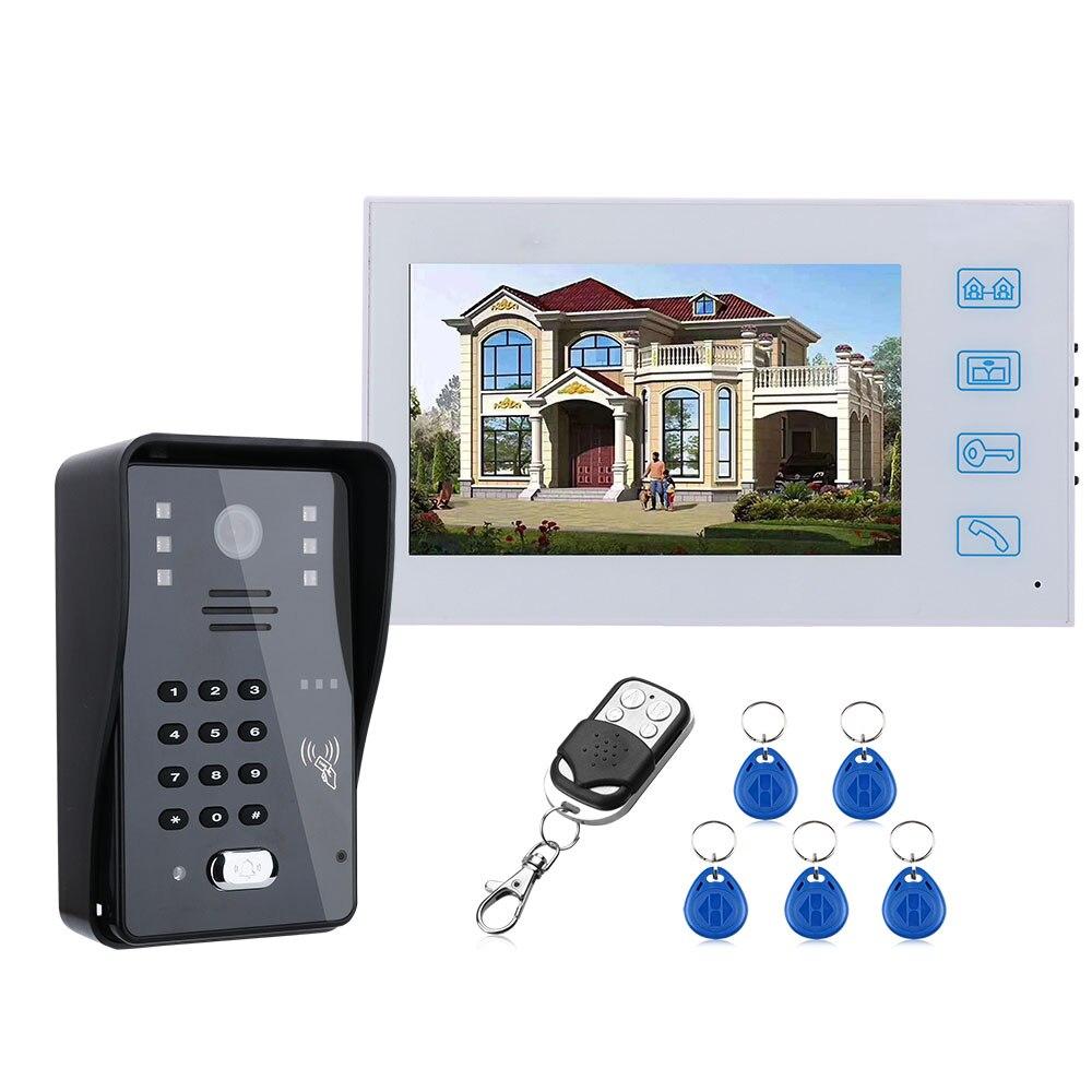 7inch Video Door Phone Intercom Doorbell With RFID Password IR-CUT 1000TV Line Camera  Wireless Remote Access Control System