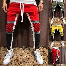 QNPQYX hommes automne sport pantalon Plaid contraste couleur couture Hip-hop Fitness pantalon cordon Joggers Streetwear crayon pantalon