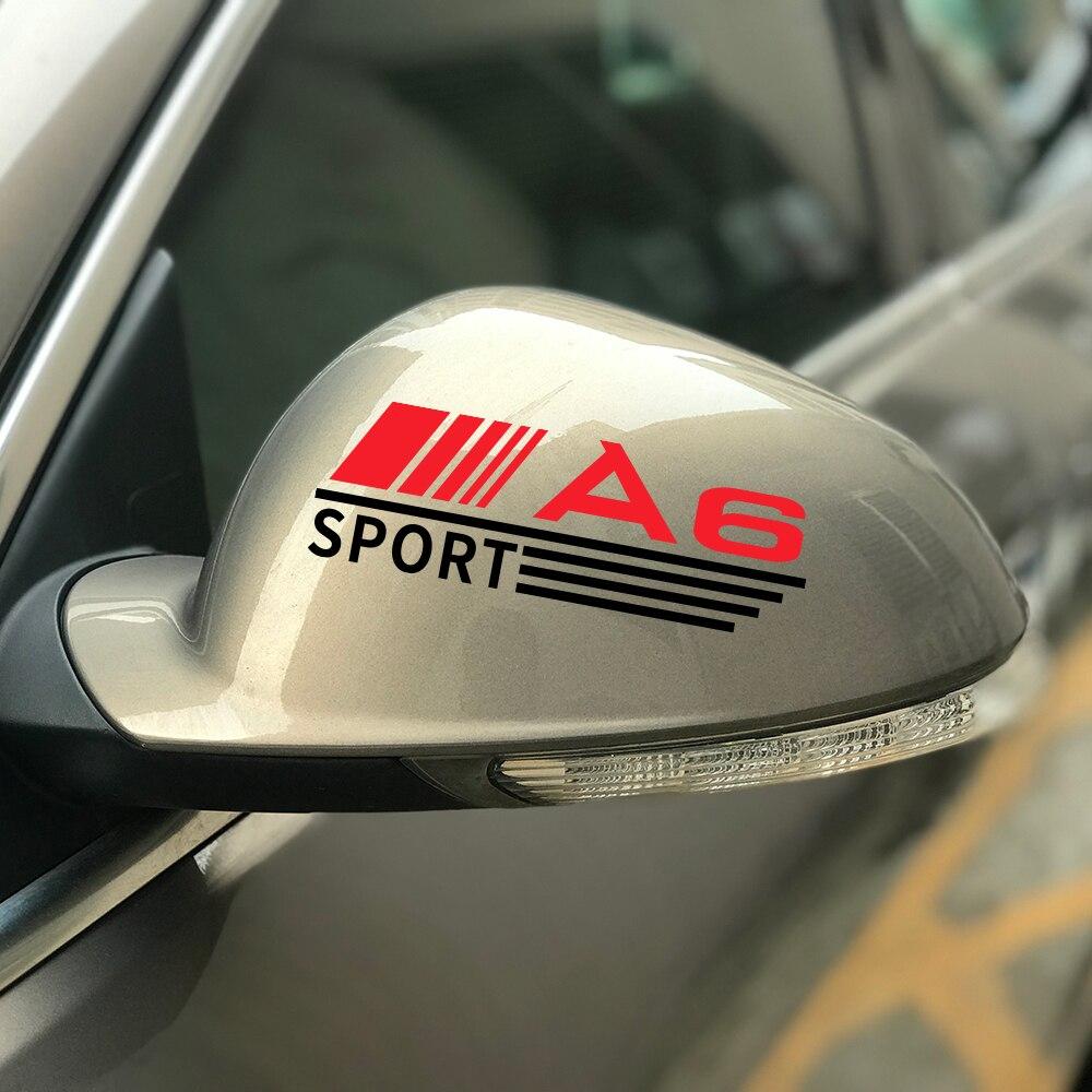 2PCS Sport Car Rearview Mirror Trim Decals For Audi A6 C6 C5 C7 4F C4 Graphical Vinyl Auto Mirror Decor Car Accessories Stickers