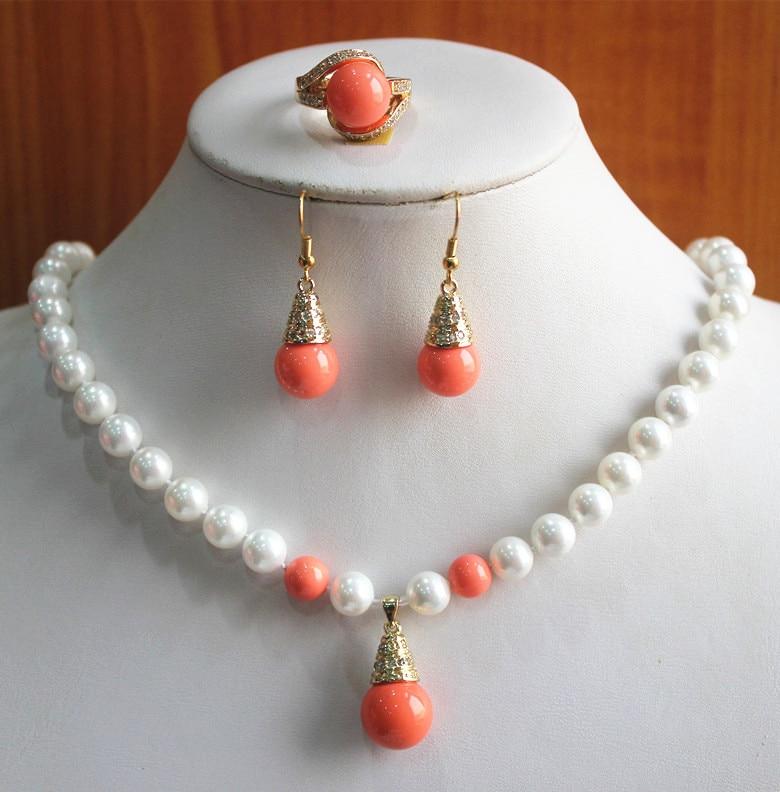 ¡Compromiso! Venta al por mayor de 8mm blanco y naranja perla collar anillo pendiente (7/8/9) conjunto de joyas #232