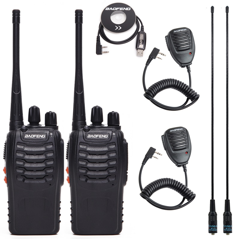 2Pcs Baofeng BF-888S Walkie Talkie UHF Two Way Radio BF888S Handheld  Radio 888S Comunicador Transmitter Transceiver+ 4 Headsets