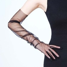 Sheer Tulle Gloves Ultra Thin Ultra Gloves Elbow Long Gloves Photo Shooting Accessory Five Fingers M