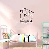cute animal sticker funny hippo wall decals for kids room bedroom home decorative wallpaper stickers art mural vinyl ov663