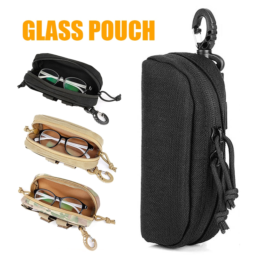 1000D Outdoor Hunting Sunglasses Case Military Molle Pouch Goggles Storage Box Nylon Hard Eyeglasses