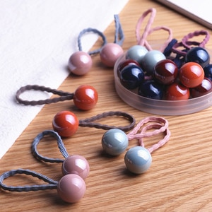 20pcs Acrylic Dimensional Dolls Cartoon Elastic Hair Band Sets Hair Accessories Girls Handmade Hair Tie Headband Rubber Band