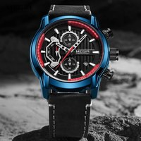 MEGIR Men's Chronograph Watches Luxury Quartz Watch Man Military Sports Waterproof Wristwatch Relogios Masculino Clock Blue 2104