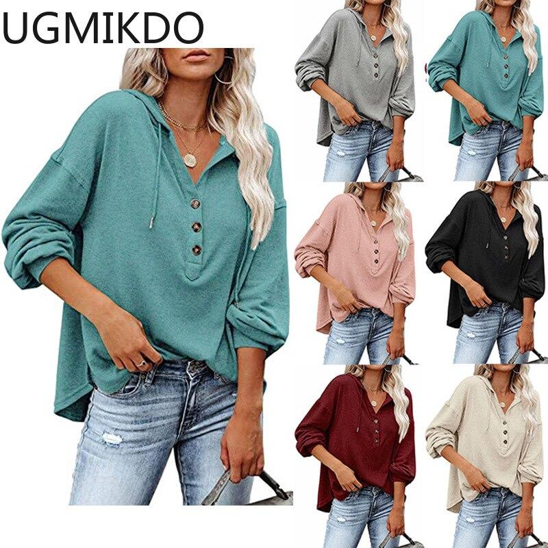 Женские топы, осенняя Повседневная Базовая рубашка с длинным рукавом, свободная однотонная толстовка, свитер, пуловер, Топ