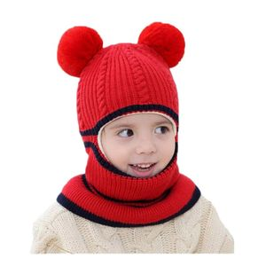 Doitbest Winter hat for kids beanies two Fur hairball boys Beanie Child knit hats Protect face neck kid girls Earflap Caps