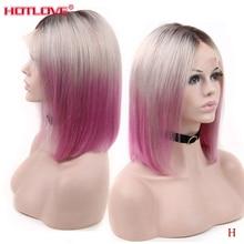 Perruque Lace front wig naturelle brésilienne Remy   Cheveux courts lisses, 1B, gris, rose foncé, 13x4
