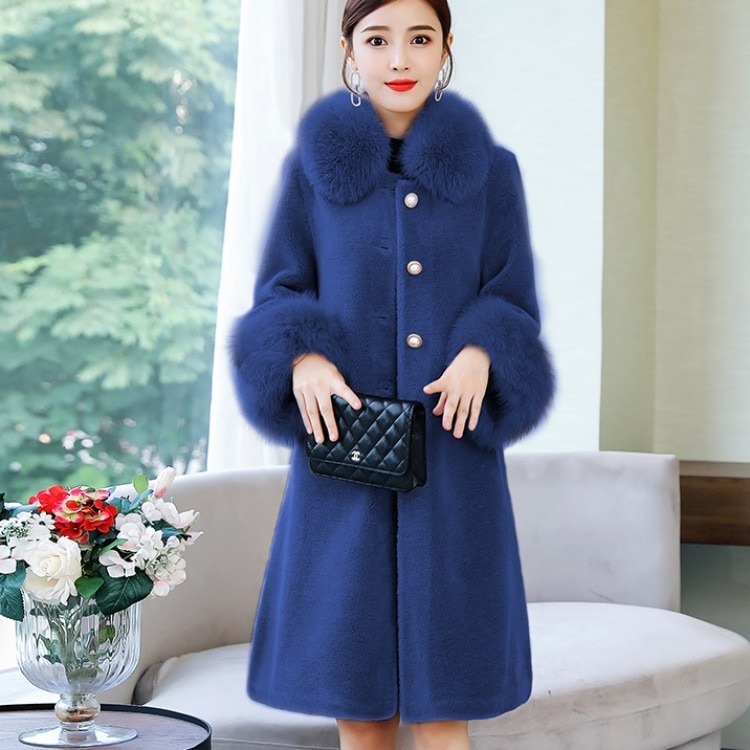 Women's Clothing 2020 Autumn New Trendy Chenille Coat Women's Fox Fur Collar Mid-Length Autumn and Winter