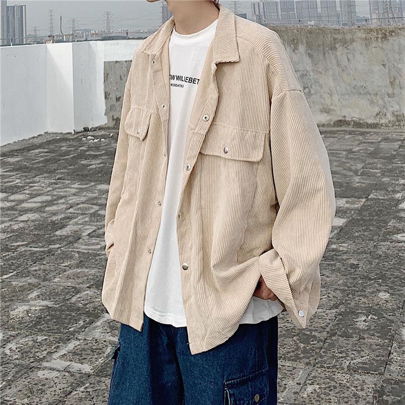 Осенняя вельветовая куртка, мужская модная однотонная повседневная куртка в стиле ретро, мужская уличная одежда, дикая свободная куртка-бо...